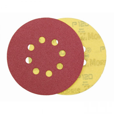 VELCRO DISC RED 125 mm 8 HOLES ΜΟRRIS-3126